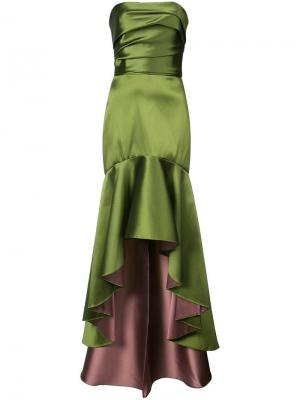 Платье с расклешенным асимметричным подолом Marchesa Notte. Цвет: зеленый