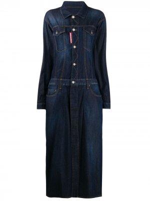 Джинсовое платье макси Dsquared2. Цвет: синий