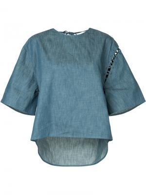 Джинсовая футболка с широкими рукавами Maison Mihara Yasuhiro. Цвет: синий
