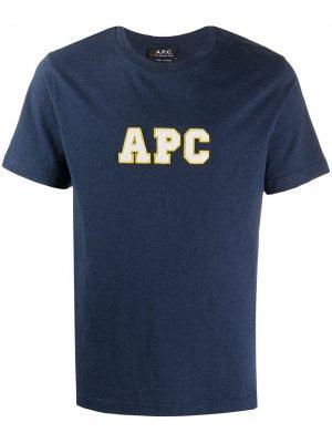 Футболка из органического хлопка с логотипом A.P.C.. Цвет: синий