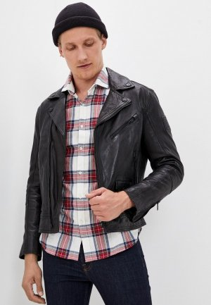 Куртка кожаная Strellson. Цвет: черный