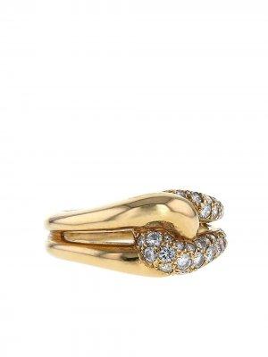 Плетеное кольцо 1980-х годов из желтого золота с и бриллиантами Van Cleef & Arpels. Цвет: желтый,белый