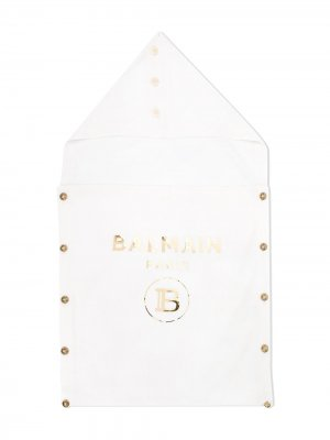 Кашемировый спальный конверт с принтом Balmain Kids. Цвет: белый