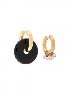 Асимметричные серьги-кольца Timeless Pearly. Цвет: золотистый
