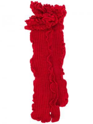 Трикотажные носки с оборками Mm6 Maison Margiela. Цвет: красный