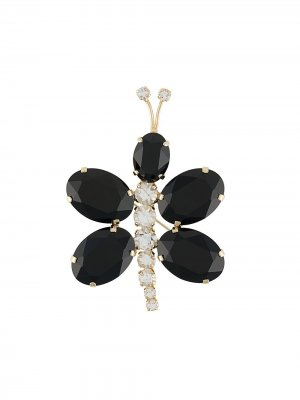 Брошь в виде стрекозы с кристаллами Gianluca Capannolo. Цвет: черный