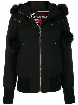 Куртка с капюшоном и меховой оторочкой Moose Knuckles. Цвет: черный