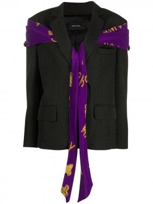 Пиджак с декоративным шарфом Simone Rocha. Цвет: черный