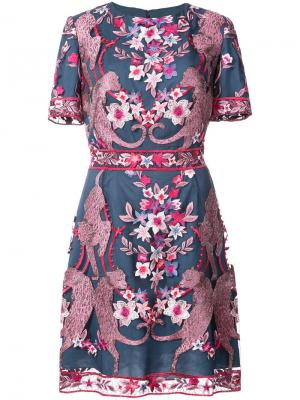 Коктейльное платье с цветочным узором Marchesa Notte. Цвет: синий
