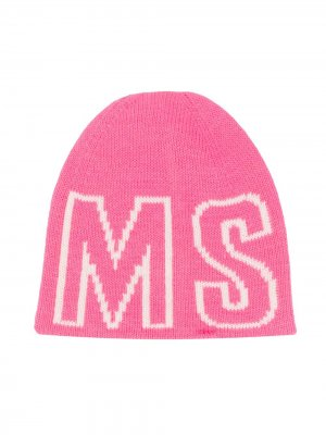 Шапка бини с логотипом Msgm Kids. Цвет: розовый