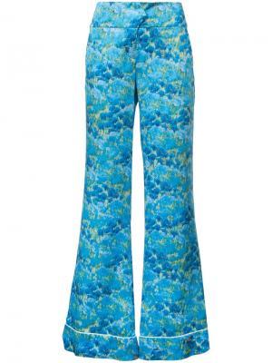 Широкие пижамные брюки Marina Moscone. Цвет: синий