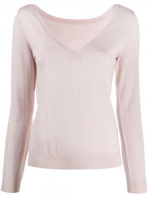 Трикотажный свитер с V-образным вырезом в рубчик P.A.R.O.S.H.. Цвет: розовый
