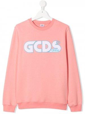 Свитер с вышитым логотипом Gcds Kids. Цвет: розовый