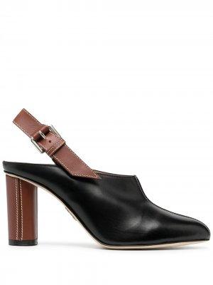 Туфли с ремешком на пятке и контрастной строчкой Rodo. Цвет: черный
