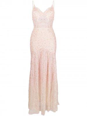 Вечернее платье с пайетками Amen. Цвет: нейтральные цвета