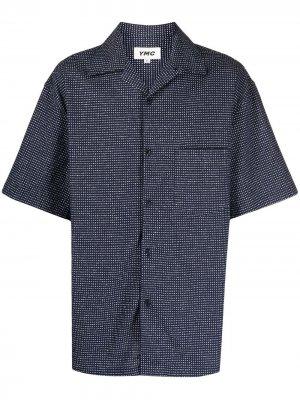 Рубашка в клетку YMC. Цвет: синий