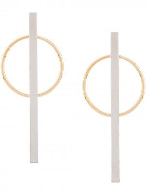 Серьги-кольца Eshvi. Цвет: серебристый