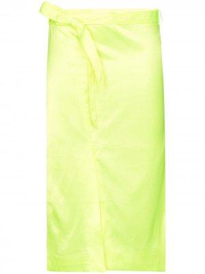 Атласная юбка миди с поясом Supriya Lele. Цвет: желтый