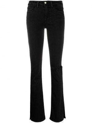 Расклешенные брюки средней посадки FRAME. Цвет: черный