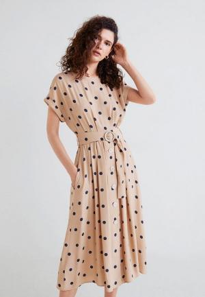 Платье Mango. Цвет: бежевый