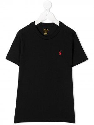 Рубашка поло с вышитым логотипом Ralph Lauren Kids. Цвет: черный