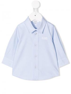 Рубашка с вышитым логотипом BOSS Kidswear. Цвет: синий