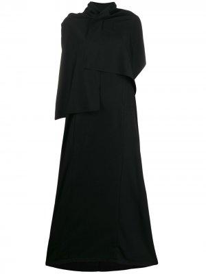 Платье миди асимметричного кроя Yohji Yamamoto. Цвет: черный
