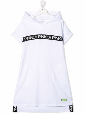 Платье с капюшоном и графичным принтом Pinko Kids. Цвет: белый
