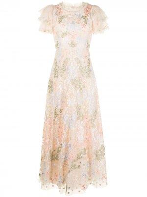 Вечернее платье Elim с тюлем Needle & Thread. Цвет: нейтральные цвета