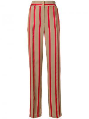 Полосатые брюки с завышенной талией Etro. Цвет: нейтральные цвета