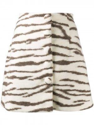 Юбка мини с зебровым принтом Andamane. Цвет: белый