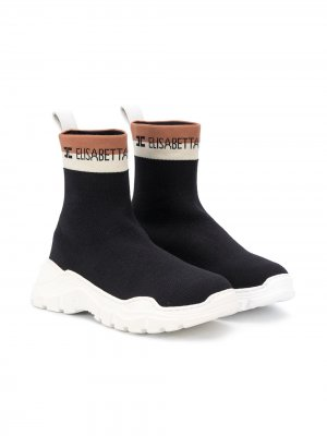 Кроссовки-носки с логотипом Elisabetta Franchi La Mia Bambina. Цвет: черный