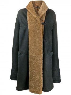 Пальто 1990-х годов с отделкой из овчины Romeo Gigli Pre-Owned. Цвет: серый