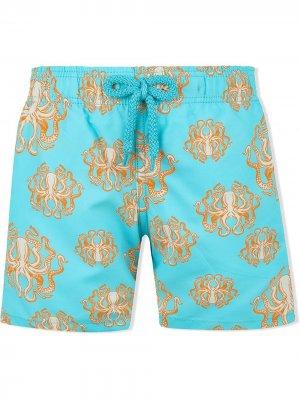 Плавки-шорты с принтом Vilebrequin Kids. Цвет: синий
