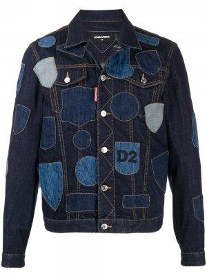 Джинсовая куртка с нашивками Dsquared2. Цвет: синий
