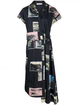 Платье асимметричного кроя в технике пэчворк Cédric Charlier. Цвет: синий