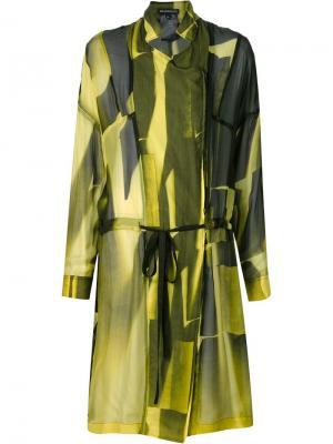 Прозрачное двубортное пальто Ann Demeulemeester. Цвет: жёлтый и оранжевый