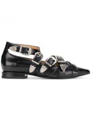 Buckled pointed loafers Toga Pulla. Цвет: черный
