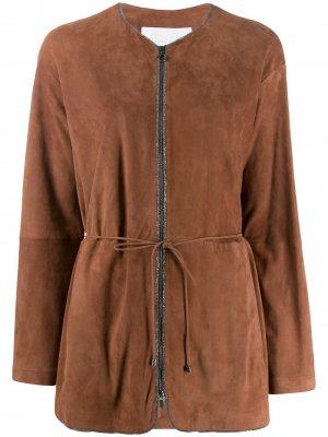Жакет без воротника с вышивкой бисером Fabiana Filippi. Цвет: коричневый