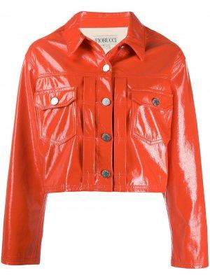 Лакированная укороченная куртка Fiorucci. Цвет: оранжевый