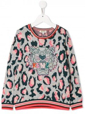 Свитер с вышивкой Tiger Kenzo Kids. Цвет: серый