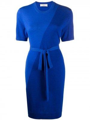 Трикотажное платье с завязками Pringle of Scotland. Цвет: синий