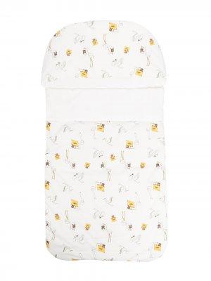 Спальный конверт с принтом Fendi Kids. Цвет: белый