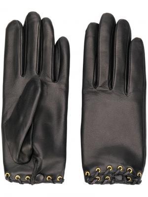 Перчатки со шнуровкой Agnelle. Цвет: черный