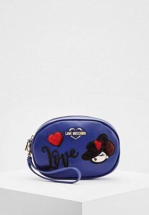 Сумка поясная Love Moschino. Цвет: синий
