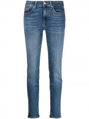 Прямые джинсы с завышенной талией 7 For All Mankind. Цвет: синий