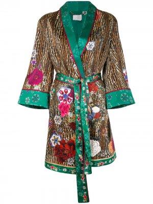 Халат с принтом Camilla. Цвет: коричневый