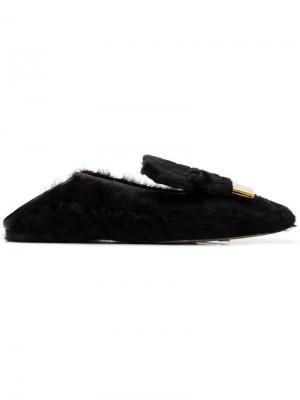 Shearling slippers Sergio Rossi. Цвет: черный