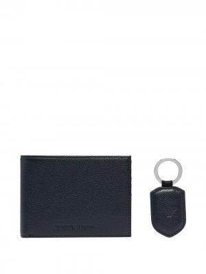 Комплект из кошелька и брелока Emporio Armani. Цвет: синий