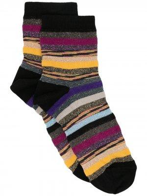 Полосатые носки с блестками M Missoni. Цвет: черный